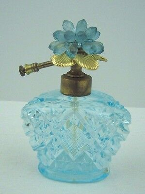 Vintage Irice Blue Glass Beaded Flower Perfume Atomizer Bottle Bulbless Empty