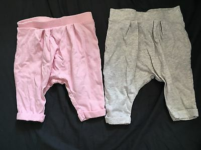 Next 2 X Harem Pants Girls Trousers Light Pink And Grey 0-3 Months 100% Cotton