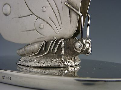 RARE LARGE SILVER PLATE ART DECO BUTTERFLY NAPKIN HOLDER c1940's