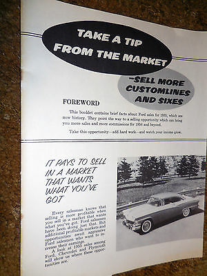 1956 Original  Ford  Dealer Salesman Bulletin for Customline  brochure catalog