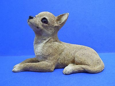 Sandicast Chihuahua Figurine Statue Hand Painted Cast 0S116 Tan Lying At Rest