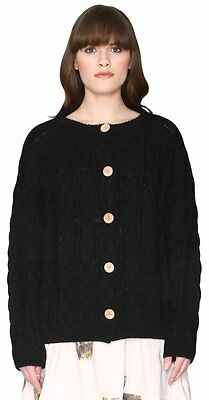 (TG. 44) Pepaloves Cardigan Cable, Pullover Donna, Nero, 44 (v0D)