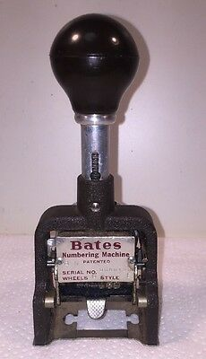 In Box Vintage Bates Numbering Machine 6 Wheels Style E