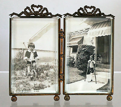 Antique French RARE Double Picture Frame Beveled Glass Bow Ribbon