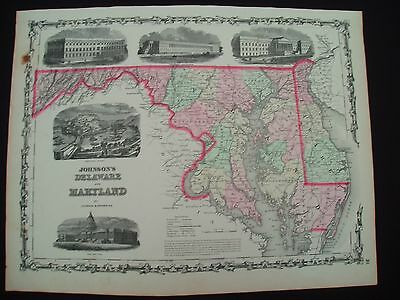 1862 Johnson Atlas Map Maryland and Delaware 155 Yrs Old Antique