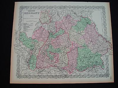 1855 Colton Atlas Map Southern Germany Bavaria Genuine Antique 162 Years Old