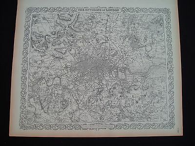 1855 Colton Atlas Map City of London and Vicinity Genuine Antique 162 Years Old