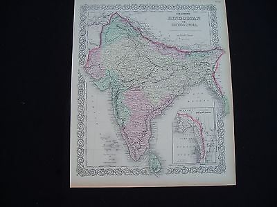 1855 Colton Atlas Map India Nepal Asia Genuine Antique 162 Years Old