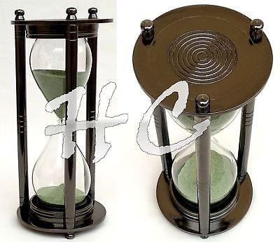 "Vintage Nautical Decor 10"" Brass Ship Sand Hourglass Maritime Antique Sand Timer"
