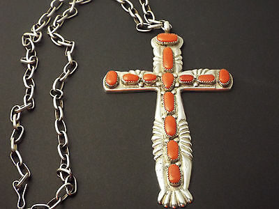 Horace IuLe Silver Cast Coral Cross Pendant With Chain - Zuni Vintage Jewelry