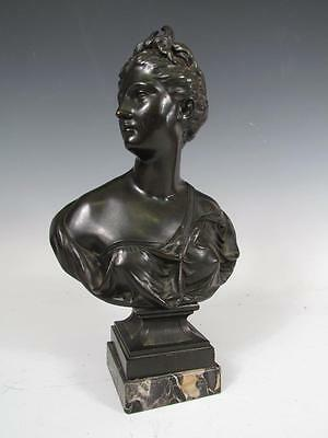 ANTIQUE 19c EUROPEAN CONTINENTAL BRONZE BUST OF A YOUNG WOMAN