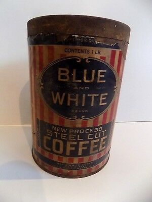 "Rare ""Blue and White"" Brand 1lb Metal Coffee Can..Red & White Corp, Buffallo NY"
