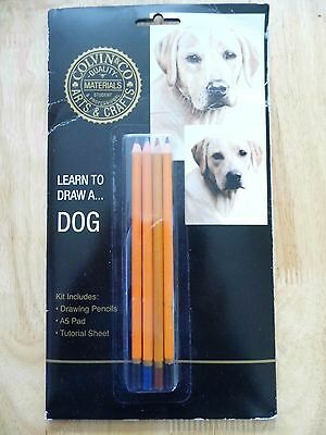 Colvin & Co Learn to Draw a Dog with 4 Drawing Pencils A5 Pad & Tutorial Leaflet