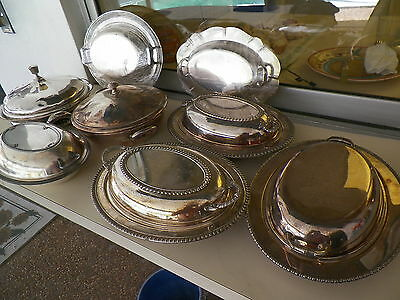 Lot Of 8 Silverplated Covered Serving Dishes