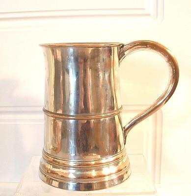 Antique Georgian Old Sheffield Plate Silver Plated Tankard 1.25 pt.
