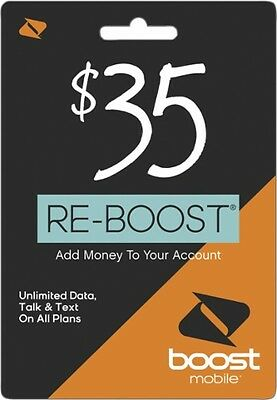 Boost Mobile $35 Refill Card Credit Topup Prepaid Re-Boost