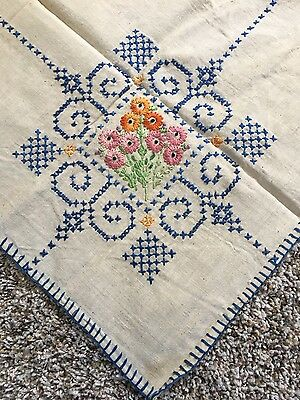 """Vintage hand embroidered Blue Floral Cross Stitch Linen Tablecloth~32"""" X 32"""""""