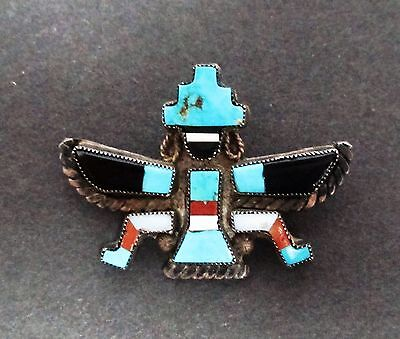 Older Zuni Knifewing Dancer Sterling and Pieced-Stone Pin, Signed