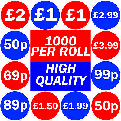 1000 x Shop Price Stickers Retail Discount Sticky Labels 50p 99p £1 £1.99 £2