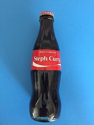 RARE Share a Coke With STEPH CURRY NBA GS Warriors 8oz Coca Cola Glass Bottle