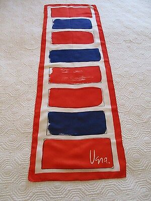 Vintage Late 1970's Vera Neumann Abstract Paint Splash Squares Oblong Scarf