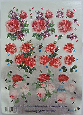 Dufex Decoupage Roses for card making-scrapbooking-3 mixed flowers