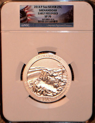 2014 P ATB 5 oz SILVER SHENANDOAH EARLY RELEASES NGC SP 70