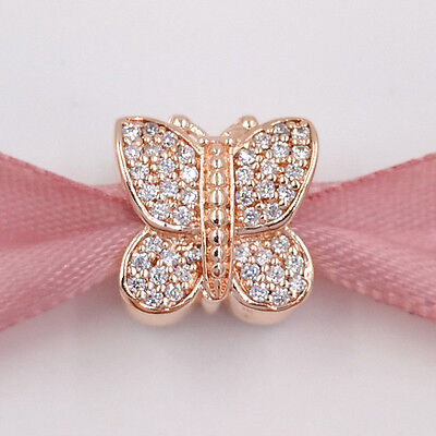 Genuine  Rose Gold Sparkling Butterfly Charm  S 925  + Gift Pouch