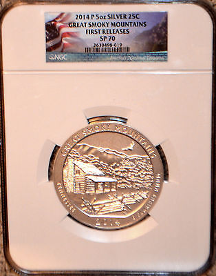 2014 P ATB 5 oz SILVER GREAT SMOKY MOUNTAINS FIRST RELEASES NGC SP 70