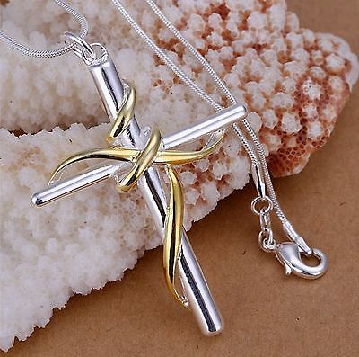 Unisex Mens Womens 925 Sterling Silver Necklace Cross