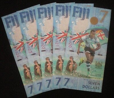 Fiji 2017 5 x $7 Seven Dollars Notes NEW + 5 x 50 cent commem. coins (5 eac) UNC