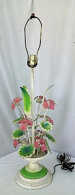 Vintage Tole table lamp metal floral shabby