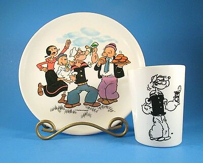 1960s POPEYE Boonton Melmac Childrens Plate & Cup Set, King Features Cartoon