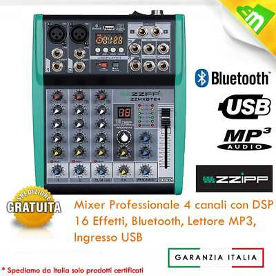 Mixer Dj Disco Stereo Audio Consolle 3/4 Canali Pro Karaoke Mp3-Player Usb