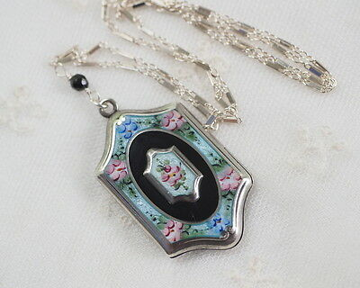 Antique Guilloche Enamel Locket Vintage Sterling Silver Chain Pendant Necklace