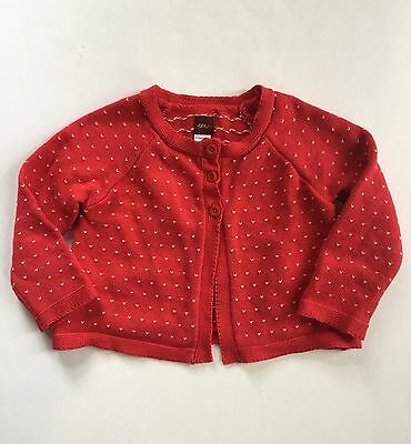 TEA COLLECTION Girl's Size 4 Red with White Hearts Cardigan Cotton Sweater