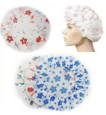 3 x Reusable Bath Shower Caps Assorted Clear Plastic Head Hair Cover Salon Cap