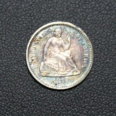 1871 Seated Liberty Silver Half Dime TONING TONED COLOR