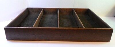 Vintage WOODEN CARRYING CADDY TRAY 4 Compartments 1 Handle Brown VELVET INSERTS
