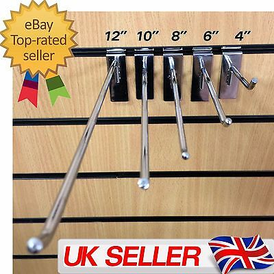"SLATWall Hook Retail Shop fitting Chrome Prong Panel Display 4"" 6"" 8"" 10"" 12"" UK"