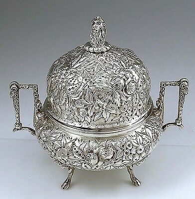 A Jacobi Chased Sterling Butter Dish with Liner LION Finial Ram's Heads