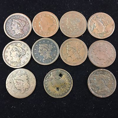 10 Mixed Date Large Cents 1c & 1 Hard Times Token US Copper Pre Civil War #5151