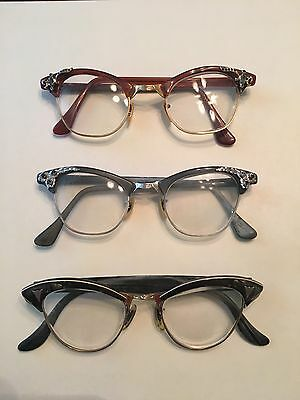 """Vintage Women's """"Cat Eye"""" Glasses Lot Of 3 With Cases"""