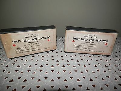 Lot 2 Vintage Boxes Johnson & Johnson First Help For Wounds~Bandages +