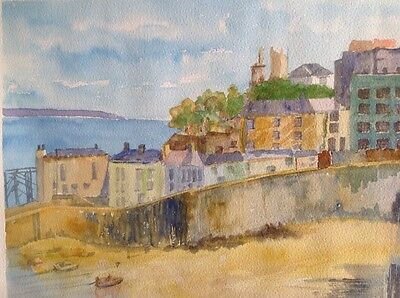 original signed landscape watercolour painting of Tenby South Wales