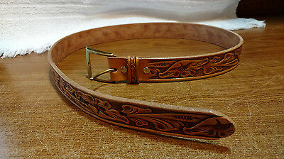 """VTG Hand Tooled Brown Belt Size 32"""" With Solid Brass Gold Buckle Western Cowboy"""
