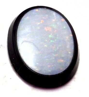 NOS Antique Deco Victorian Black Oval Stone w/ Inlaid Large Oval Opal  #C302
