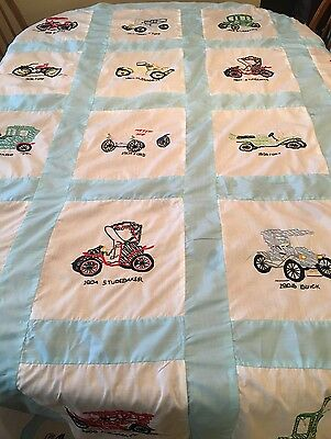 """Vintage Hand Embroidered """"Classic Old Cars"""" Quilt Top~57"""" X 93"""""""