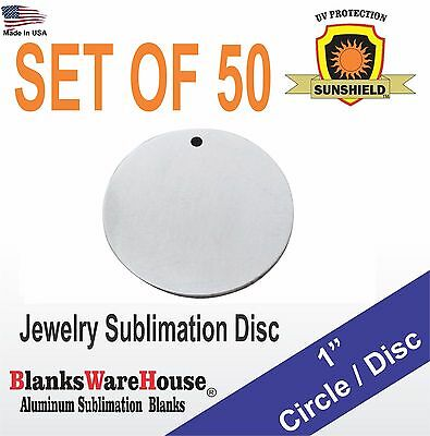 "50 Pieces 1"" Circle, SUBLIMATION BLANKS - Jewelry making supply, .025  WITH HOLE"