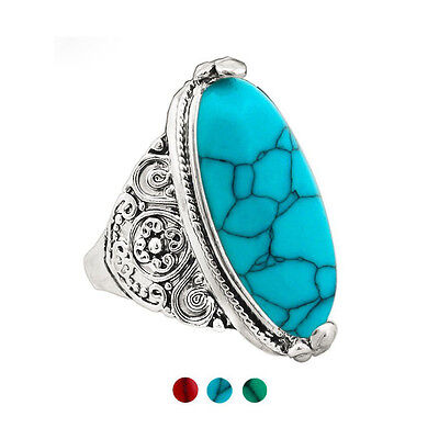 Tibetan Bohemian Flower Tail Antique Silver Plated Finger Ring Oval Turquoise